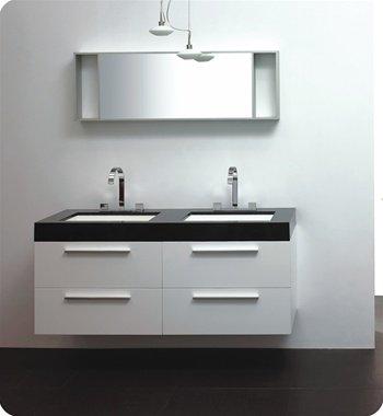 Moderno Double Sink Bathroom Vanity w/ Acrylic Countertop and Sink