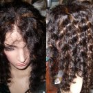 18 inch Kinky Curly Half Lace Human hair wig