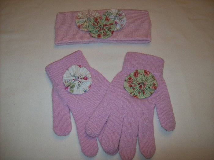 Pink Glove & Headband Set