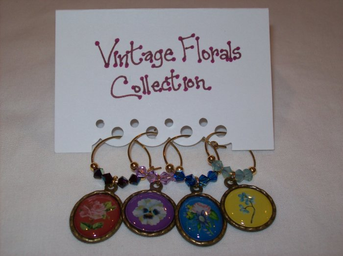 Vintage Florals Wine Charms Collection