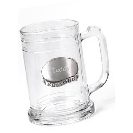 Glass Mug with Pewter Medallion