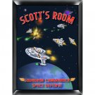 Personalized Childs Room Sign Space Commander