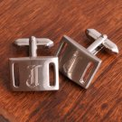 Brushed Silver Slotted Silver Cuff Links
