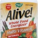 Nature's Way Alive! Multi vitamin Whole Food Energizer No Iron Added -- 180 Tablets