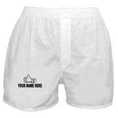 THUMBS UP White Men's Boxer FREE PERSONALIZED