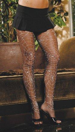 Glow in the dark spider web sheer pantyhose.