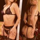 Four piece set. Lace bra, garter belt, thigh hi's and g-string.
