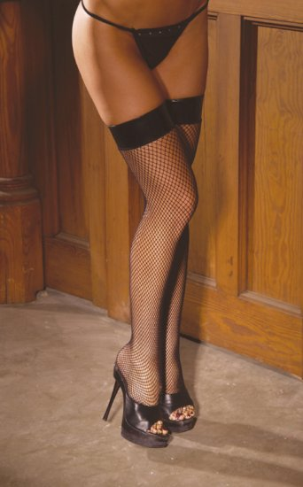 Fishnet thigh hi with vinyl top.