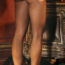 Fishnet suspender pantyhose.
