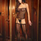 Three piece set. Opaque stripe camisette,      g-string and stockings.