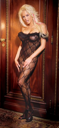 Bow pattern lace open crotch bodystocking with a ruffle top...QUEEN