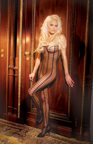 Sheer bodystocking with diamond pattern and stripes. Open crotch.