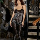 Opaque bodystocking with skeleton print.