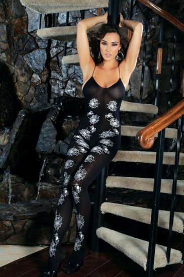 Opaque bodystocking with spider web print.