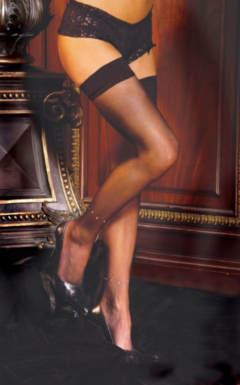 Sheer thigh hi with rhinestone anklet.