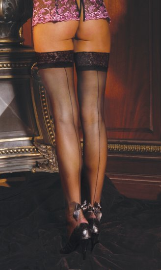 Sheer thigh hi with back seam and satin bow with pearl treatment.