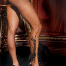 Tiger print sheer pantyhose.