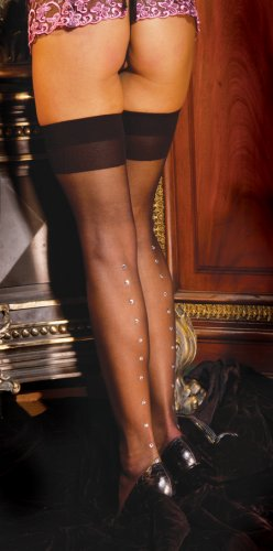 Sheer thigh hi with rhinestone back seam........QUEEN