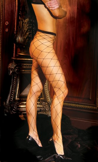 Seamless lycra diamond net pantyhose.