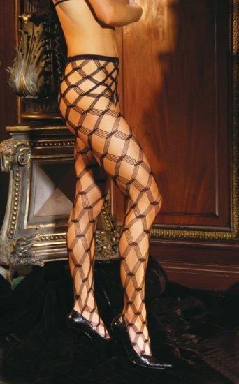 Seamless diamond lace pantyhose.