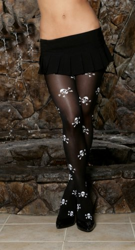 Opaque pantyhose with skull printing.