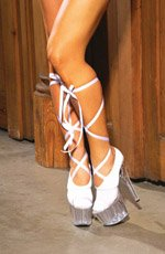 Ballerina sock with satin lace up ties.