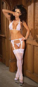 Sheer thigh hi with stay up silicone lace top.