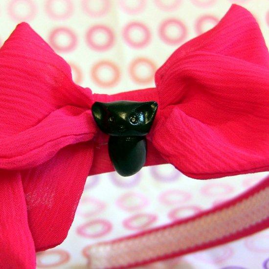 Black Cat on Hot Pink Cloth-covered Headband