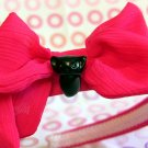 Black Cat on Hot Pink Cloth-covered Headband
