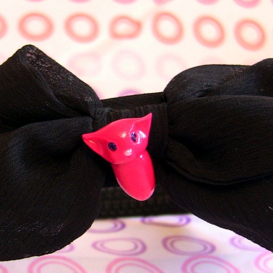 Hot Pink Cat on Black Cloth-covered Headband