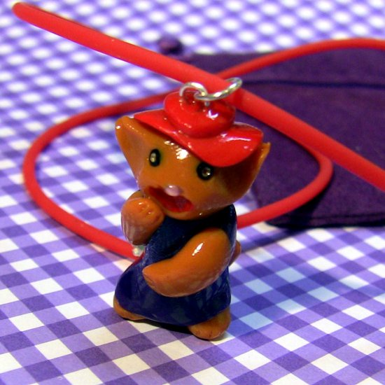 Laughing Red Hatted Kitty in Purple Dress