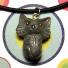 Silver Cat Long-haired Kitty Animini Necklace