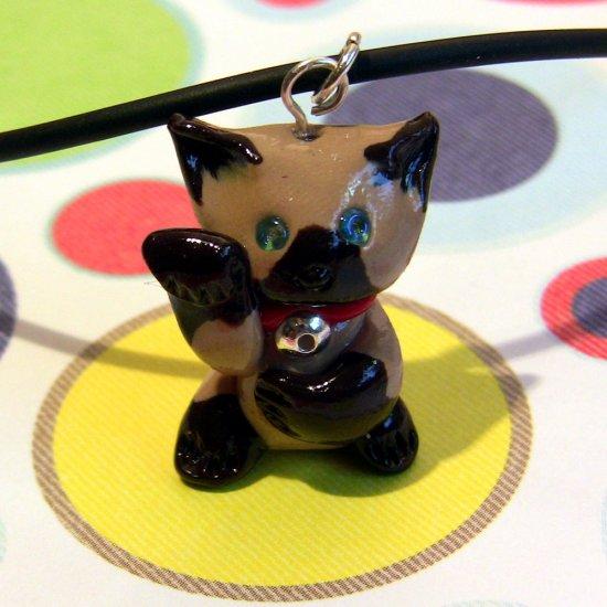 Lucky Siamese Maneki Neko Beckoning Meezer Cat Necklace