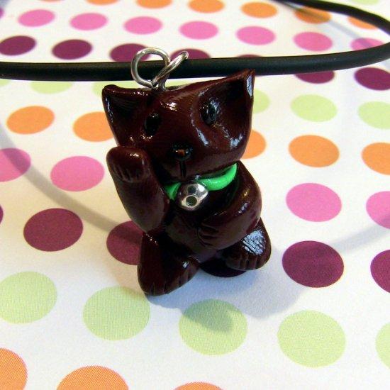 Mint Chocolate Maneki Neko Truffle Kitty Necklace