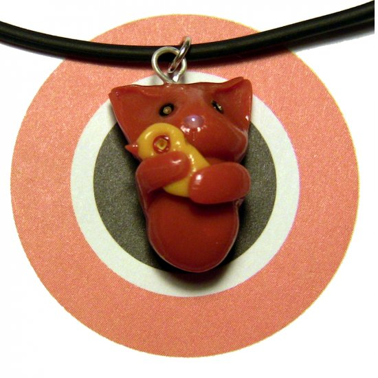 Kitty Hugging Ducky Orange Animini Necklace