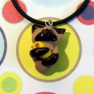Kitty Hugging Ducky Siamese Meezer Animini Necklace