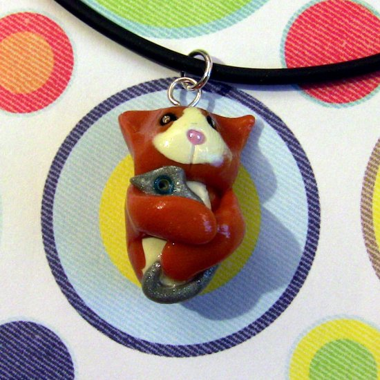 Kitty Hugging Mouse Toy Orange Tuxedo Necklace
