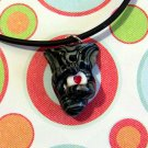 Tabby Hugging Heart Necklace-- Silver and Black