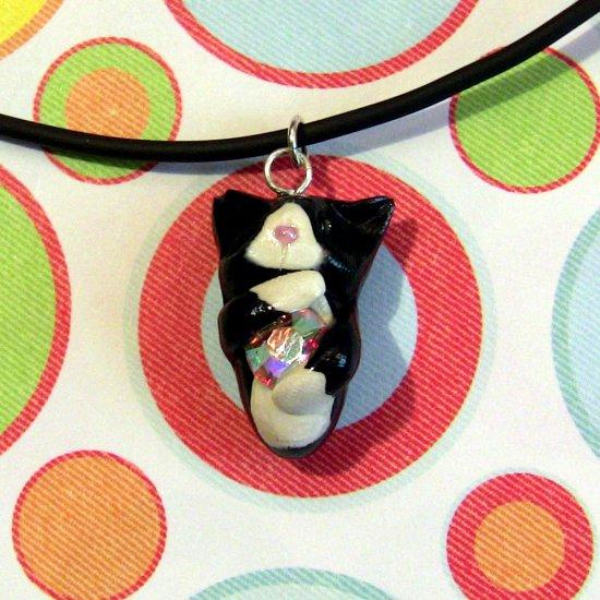 Kitty Hugging Rainbow Crystal Necklace-- Tuxedo
