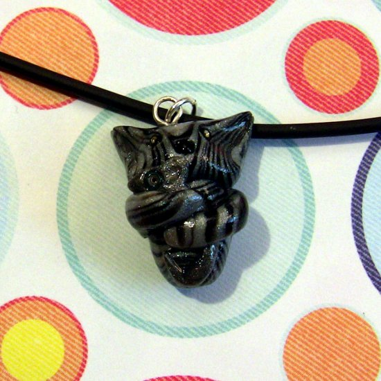 Tabby Hugging Mouse Necklace-- Black and Silver