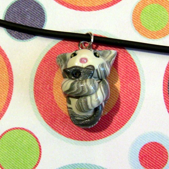Kitty Hugging Mouse Necklace-- Silver Tuxedo