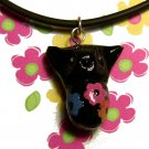Blossom Belly Kitty Necklace: Black