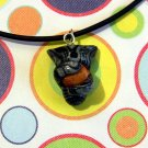 Cheezburger Kitty Silver and Black Swirl Tabby Animini Necklace