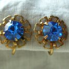 Vintage Open-Work Floral Design Earrings with Blue Faceted Glass Stones