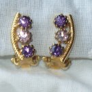 Vintage Goldtone Earrings with White and Amethyst Rhinestones