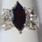 Sterling Silver Ring with Garnet and White Topaz Size 8