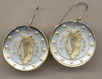 Ireland one Euro Harp, stars, center circle & rim done in Gold (U.S. quarters size)