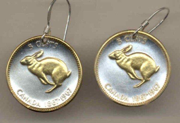 Canadian Centennial 5 cent Rabbit (nickel size)