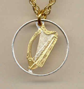 Irish 1/2 penny Harp (dime size) bronze 1971 - 1986