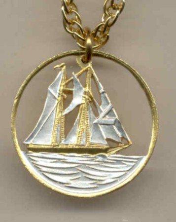 Cayman Is. 25 cent Sail boat (U.S. quarter size)